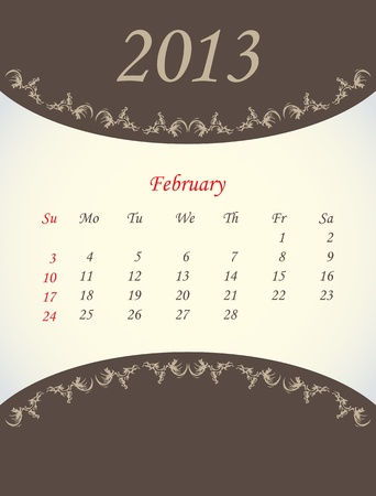 calender for 2013 - february Stock Vector - 15562202