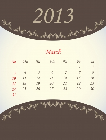 calender for 2013 - march Stock Vector - 15562207