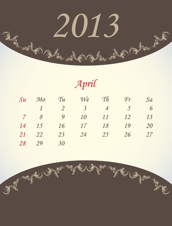calender for 2013 - april Vector