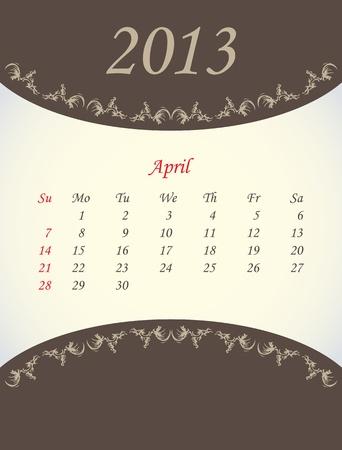 calender: calender for 2013 - april Illustration