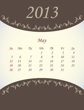 calender for 2013 - may Vector