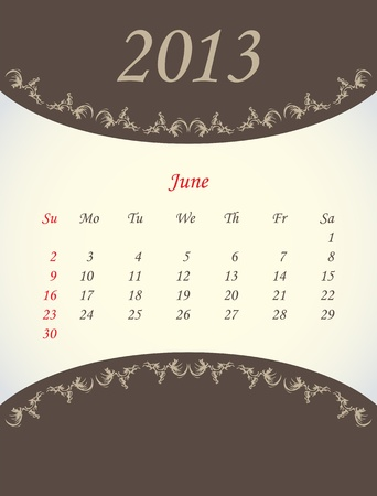 calender for 2013 - june Vector