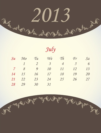 calender for 2013 -july Vector
