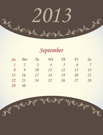 calender for 2013 - september Vector
