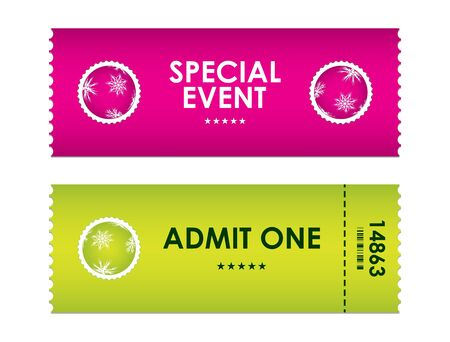 entry numbers: admit one tickets with special christmas design Illustration