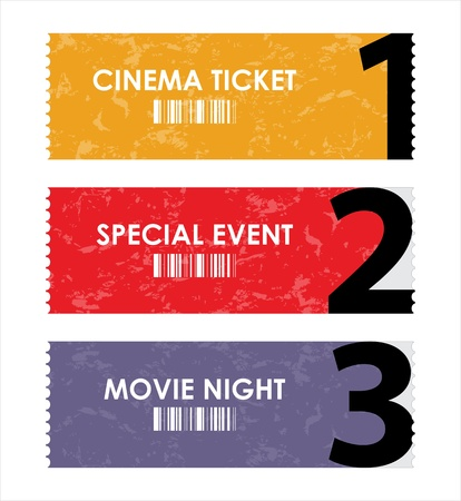 purchased: illustration  of different movie tickets