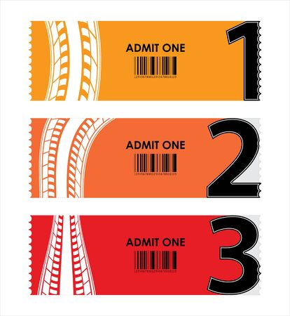 admit one: special tickets with numbers and tire design Illustration