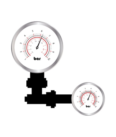 pipe water pipeline: special manometer on white background