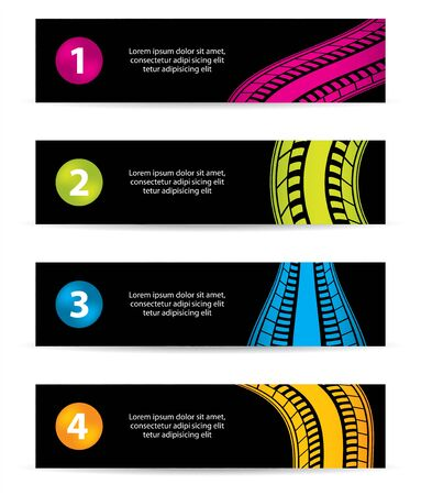 banners with tire track design Vector