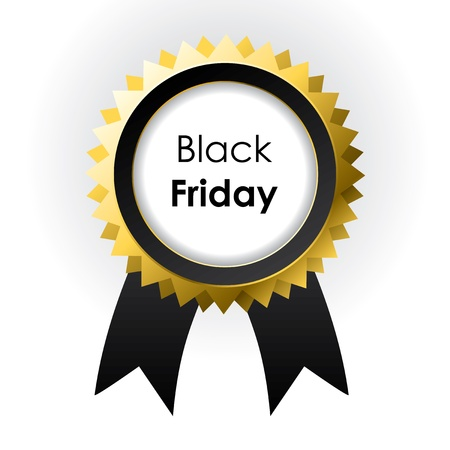 awards ceremony: vector Black Friday label with ribbons