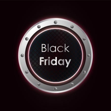 black friday plasma background with metallic design Ilustracja