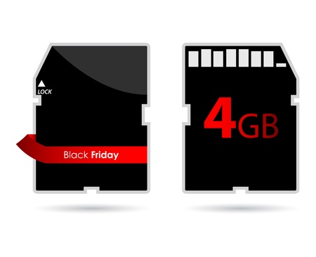 SD card with special red ribbon and Black Friday text Vector