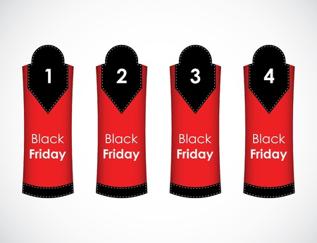 One two three four - vector paper tag with black friday text Stock Vector - 16317718