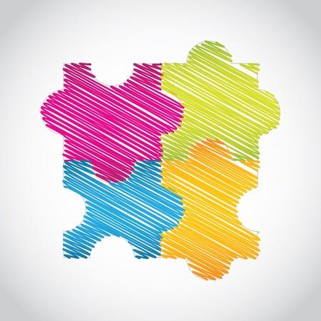 puzzle icon: puzzle set with special sketch design