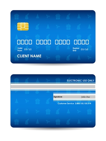 e card: Realistic credit card with Christmas design