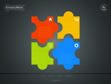 corporate website template, creative jigsaw puzzle design Vector