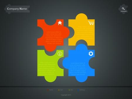 corporate website template, creative jigsaw puzzle design Stock Vector - 17514475