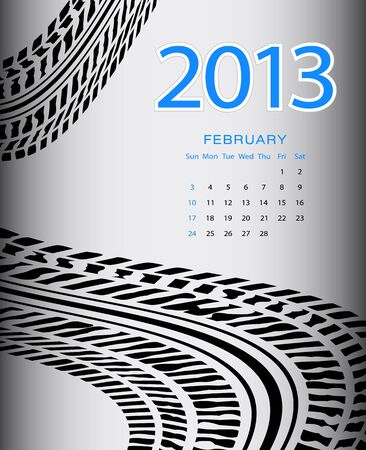 2013 february calendar with special black tire design Stock Vector - 17514473