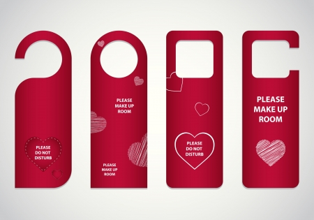 room door: door tags with Valentine Illustration