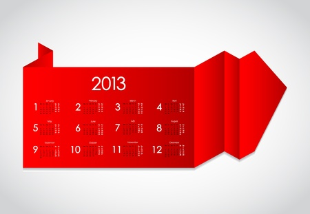 abstract origami with calendar 2013 Vector