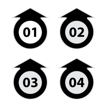 arrow labels with numbers, black and white vector illustration Vector