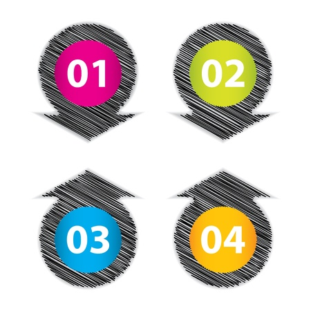 offer icon: set of four special label with sketch design Illustration