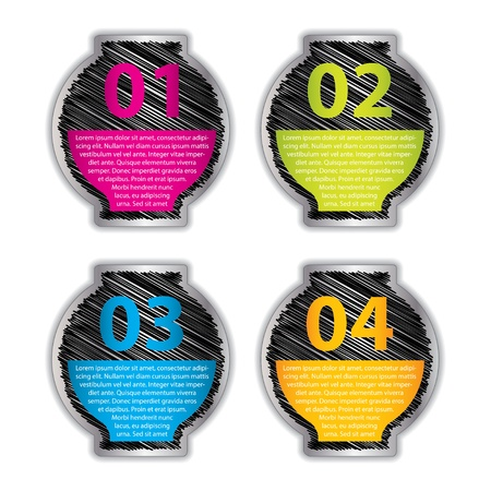 listing: set of four vector labels with sketch design