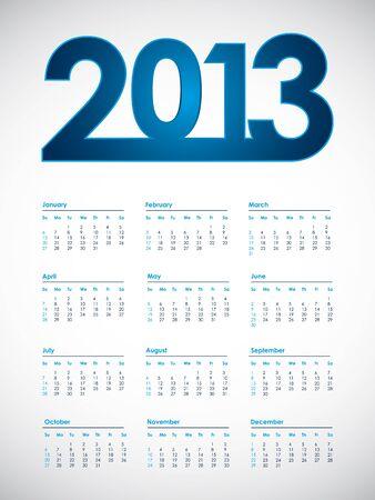 2013 calendar, vector eps10 illustration Stock Vector - 17773663