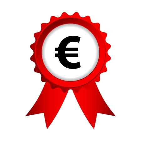 euro teken: rood etiket met linten en euro teken Stock Illustratie