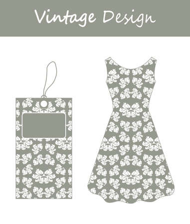 paper dresses: Price tag and a woman party dress with special floral design