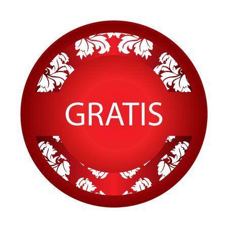 gratis: special red label with floral elements Illustration