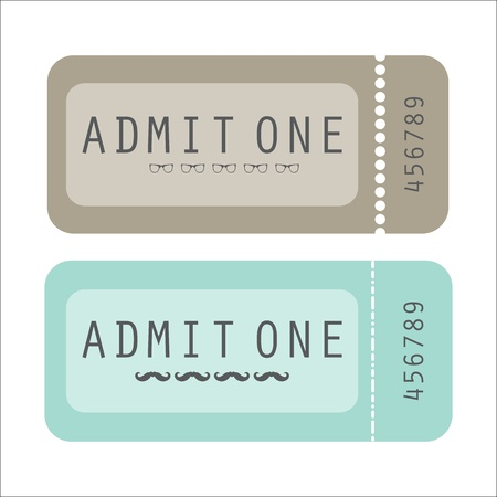 glasess: vector paper ticket with hipster elements