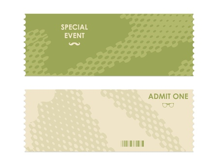 paper ticket with hipster elements
