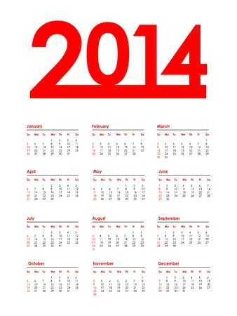 special red calendar for 2014 Stock Vector - 19625783