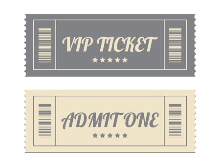 entry admission: vintage paper tickets with special design