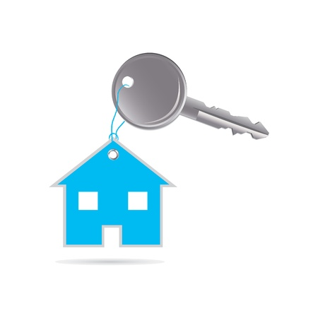 dwell: metal key and house with special design Illustration