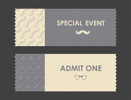 paper ticket with hipster elements Vector