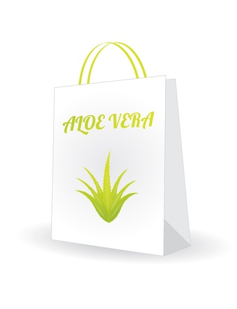 shopping bag with aloe vera design Stock Vector - 20989952