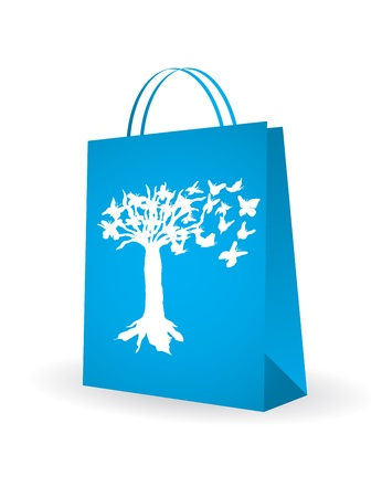 shopping bag with special butterfly design Vector