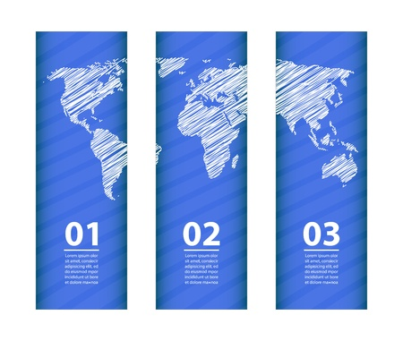 blue banner with special white sketch map design Stock Vector - 21488099
