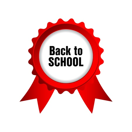 back to school badge with red ribbons Stock Vector - 22010642