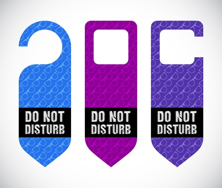 to disturb: hotel do not disturb door hanger with hipster design Illustration