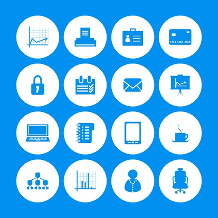 bankcard: various office icons with special design Illustration