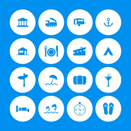 tourist information: various travel icons with special design Illustration
