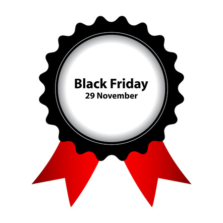 Black Friday label with ribbons Vector