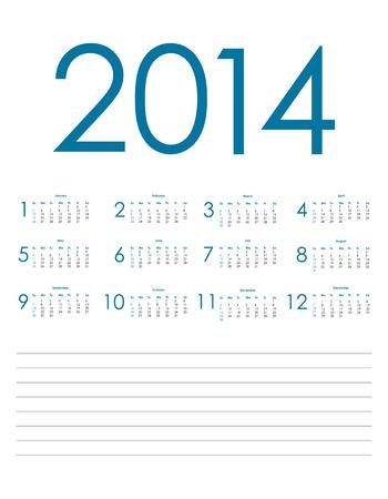 special blue calendar for 2014, vector eps10 illustration