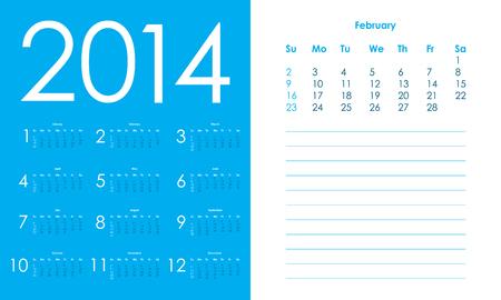 2014 Calendar, vector Eps10 illustration Vector