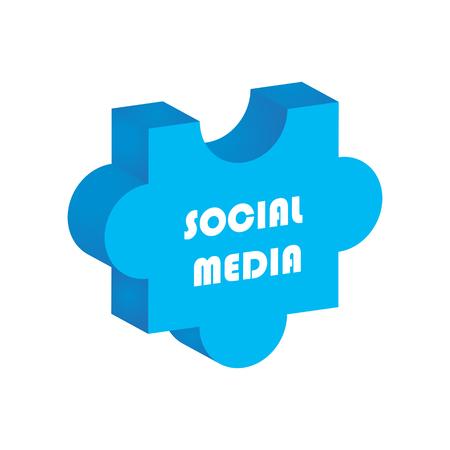 social media concept, 3d puzzle design Vector