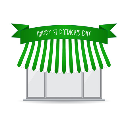 plackard: Happy St. Patricks day shop icon Illustration