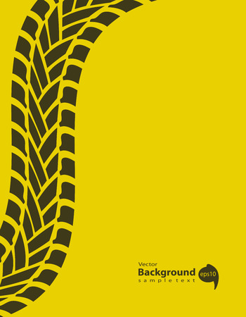 yellow special background with tire track Vector